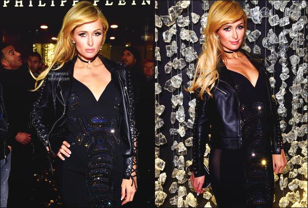 ------- 15/01/17:   Paris Hilton photographiée assistant  à la grande fête donné par   Philip Plein dans la soirée  - à  Milan.   J'aime beaucoup la tenue, en se moment elle porte beaucoup de sombre et du cuir c'est son style. Gros top pour cette robe.  Paris est top.  -------