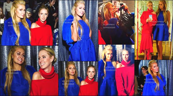 ------- 13/02/17: Princesse Paris Hilton  photographiée assistant à la Fashion Week de  Oscar De La Renta  -    New York. Elle est accompagnée de sa petite soeur Nicky. Gros top pour la robe et son manteau tout bleu. Paris est assez sublime, j'aime la coiffure. -------