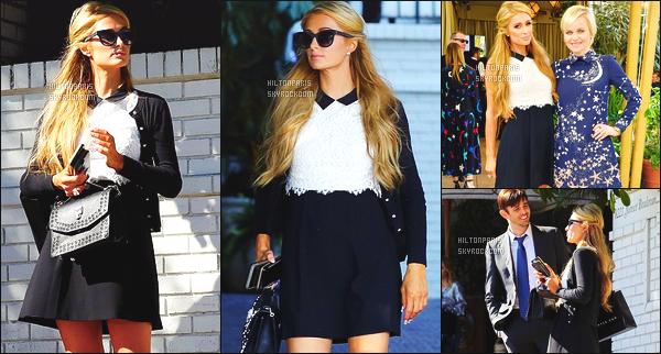 ------- 25/02/17: Paris Hilton photographiée  assistant au repas de Chateau Marmont  dans la journée - à  Los Angeles. Gros top pour la tenue, j'aime tellement cette robe assez classe et simple. Et bon top pour les lunettes de soleil. Top pour les cheveux blond.   -------
