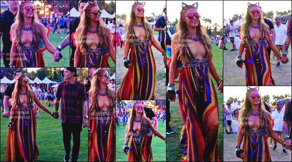 ------- 15/04/17: Notre sublime Paris Hilton  assistant 'avec Chris au grand festival 'de musique Coachella - Californie. J'aime beaucoup la premiére tenue du festival. Elle est toute coloré et j'aime beaucoup ses petites ailes de papillon dans le dos. Gros top. -------