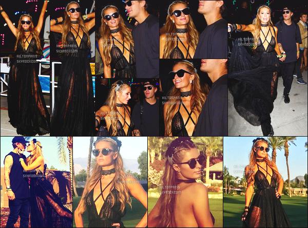 ------- 16/04/17: Notre sublime Paris Hilton  assistant 'avec Chris au grand festival 'de musique Coachella - Californie. Paris est vraiment toute belle dans la grande robe noire assez large et transparente. Je lui accorde un gros top pour elle. Assez sublime. -------