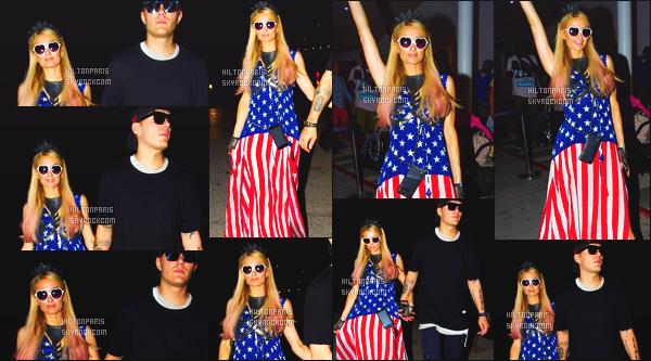 ------- 04/07/17:  La miss Paris Hilton  photographiée arrivant à la soirée du 4 Juillet avec Chris dans la journée -  Ibiza. J'aime  assez la tenue assez simple. La robe si longue lui va tellement bien.  Même si c'est vue et revues. J'adore beaucoup ses lunettes. -------