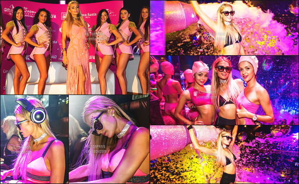 ------- 09/07/17: La princesse  Paris Hilton  photographiée   entrain de mixer à sa soirée de  Foam And Diamond   -  à Ibiza.   J'aime beaucoup sa tenue rose. Cela lui va tres bien,  gros top je lui accorde. J'adore trop aussi ses longs cheveux lisse. Elle est parfaite.    -------