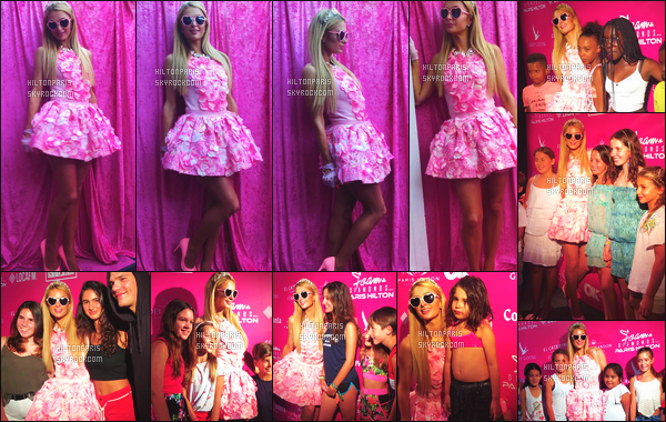------- 13/08/17: La princesse  Paris Hilton  photographiée   entrain de mixer  pour la fête de   Foam And Diamond  - Ibiza.   Cela c'est passé dans la journée car la fête etait pour les enfants.  Je lui accorde un gros top pour la tenue. Elle est parfaite sa robe rose.    -------