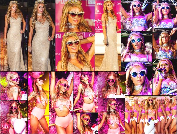------- 27/08/17: La princesse  Paris Hilton  photographiée   entrain de mixer à sa soirée de  Foam And Diamond   -  à Ibiza.    J'aime  toutes ses tenues. Cela lui va   bien,  gros top je lui accorde. J'adore trop aussi ses longs cheveux lisse. Elle est  vraiment parfaite.    -------