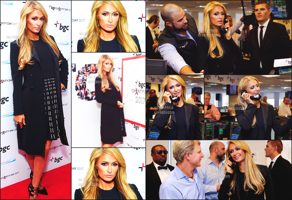 ------- 11/09/17: Princesse Paris Hilton  photographiée  assistant  à l'événement de BGC Partners avec Chris  -    New York.  C'est un événement de charité pour les victimes du 11 Septembre. Paris est trop adorable. Gros top pour la tenue. Top pour cette coiffure. -------