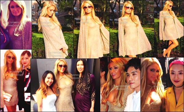 ------- 11/09/17:  Notre princesse Paris Hilton  photographiée assistant à la grande  Fashion Week de Lanyu -  New York.  Alors la Paris est tellement sublime, je suis assez fan de cette tenue, j'adore assez, cela lui va tellement bien. Top pour cette cape dorée. -------