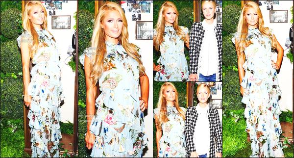 ------- 12/09/17: Notre sublime  Paris Hilton  photographiée  assistant à la Fashion Week de   Alice & Olivia - à New York.  Flop pour la tenue je n'aime pas du tout on dirait trop une nappe de table, et je n'aime pas du tout les motifs et la longueur trop longue.  -------