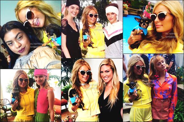 ------- 14/09/17:  Notre princesse Paris  Hilton photographiée  à l'événement de la fête de Juicy Couture  -  à New York. Top pour la tenue (JuicyCouture). Je lui accorde un enorme top pour cette tenue jaune. Se short et le pull je suis trop fan. Elle est jolie. -------