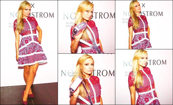------- 12/10/17: La princesse Paris Hilton photographiée  assistant à l'événement  «   Suki et Pop » - dans Los Angeles. Petit flop pour la tenue qui fait trop simple, je n'aime pas trop les motifs de la robe. J'adore beaucoup cette longueur sur la robe courte.    -------