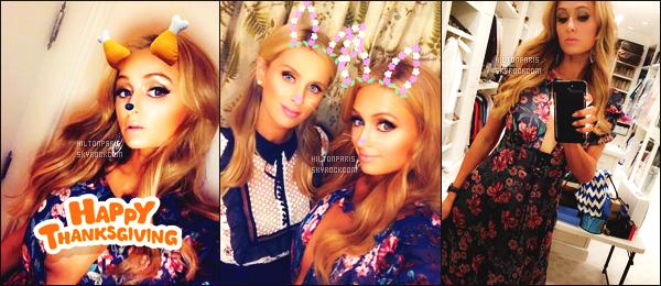 """--------------------------------------  """"""""RESEAUX SOCIAUX"""""""" Découvrez les dernières photos de mlle Paris toujours  actif sur Instagram ou Snapchat.  Novembre 2017 -     Quelques photos de notre princesse  Paris Hilton lors du grand repas Thanksgiving avec sa famille. Au top vraiment.  --------------------------------------"""