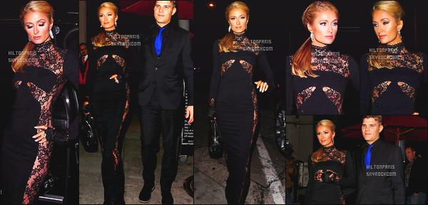 ------- 06/01/18: La belle  Paris Hilton   photographiée qui se dirige au restaurant Craig's dans la soirée - à Los Angeles.  J'aime beaucoup la tenue toute noire, elle a sortie le grand jeu pour cette sortie toute simple, elle est accompagnée de son fiancé Chris. -------