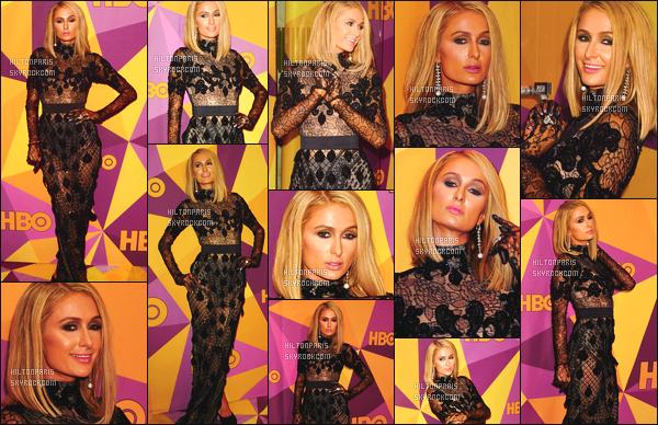 ------- 07/01/18: Notre merveilleuse  Paris Hilton   photographiée  assistant à la soirée des Golden Globes à  Los Angeles.   Je lui accorde  vraiment un gros top. Je suis assez fan de cette robe toute sombre. Au top aussi ses cheveux court. Ca lui va trop bien. -------