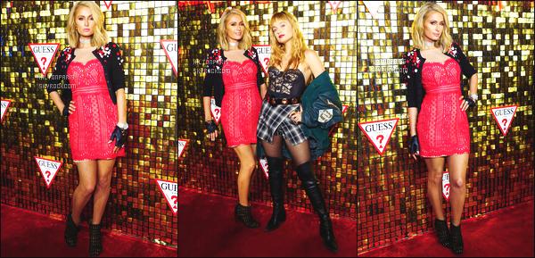 ------- 31/01/18:  Mlle Paris Hilton  photographiée à l'événement de la marque « Guess » -   à Beverly Hills dans la soirée.  Petit top pour cette tenue, les robes en dentelles c'est pas trop mon style. Le rouge lui va trop bien à Paris. Gros top pour ses cheveux.  -------