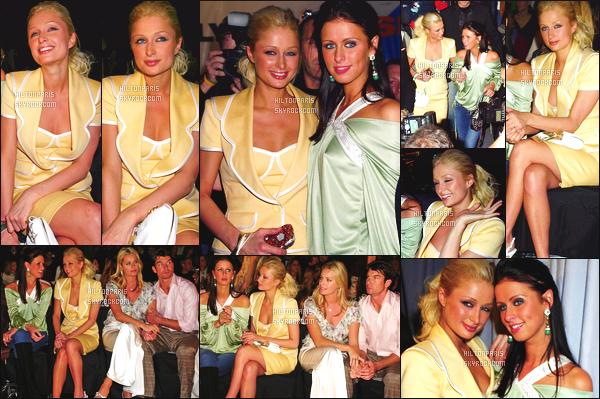 ------- 06/02/05: Notre princesse Paris Hilton photographiée  assistant à la Fashion Week de  « Luca Luca  » - à  New York. Elle est avec sa soeur Nicky Hilton. Gros top pour cette robe, elle est   jolie. J'adore trop la couleur claire sur elle. Cela lui va vraiment bien.  -------