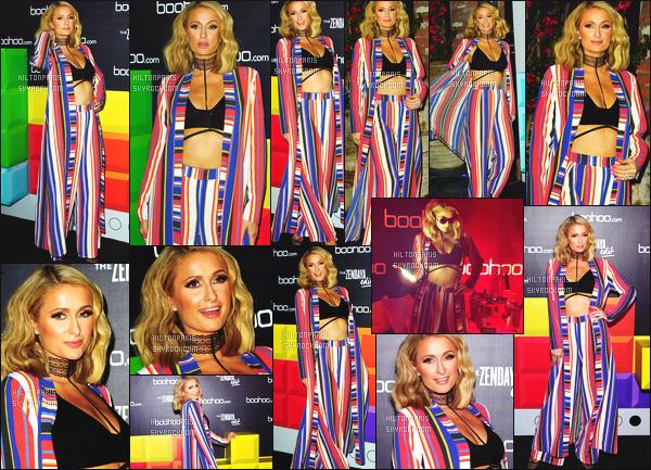 ------- 21/03/18:  La belle  Paris Hilton  photographiée    à la soirée de  « The Zendaya Edit  » dans la soirée - à Los Angeles.   J'accorde un bon top pour Paris Hilton, j'adore beaucoup cette tenue. Je la trouve magnifique. Les couleurs trés coloré, je suis tres fan.     -------