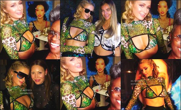 """--------------------------------------  """"""""RESEAUX SOCIAUX"""""""" Découvrez les dernières photos de mlle Paris toujours  actif sur Instagram ou Snapchat. Mars 2017 -  Quelques photos de notre princesse Paris Hilton lors d'une grande soirée à Miami. C'est assez original cette tenue verte. --------------------------------------"""