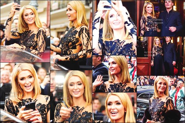 ------- 31/03/18: Notre merveilleuse  Paris Hilton   photographiée quittant son hôtel  avec son amoureux Chris -   Ukraine.  Je lui accorde un  enorme top pour cette sublime robe. Cela fait princesse. J'adore beaucoup. Je suis toujours fan de ses cheveux carré. -------
