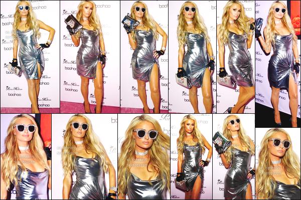 ------- 20/06/18: Notre princesse Paris Hilton photographiée  à la grande soirée de lancement de Boohoo  -  Los Angeles. Top pour la tenue. Cette robe argent me rappelle les année 2000 de son style vestimentaire. Elle est trop belle avec ses lunettes de soleil. -------