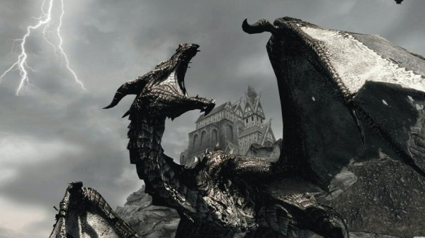 Un dragon dans Skyrim