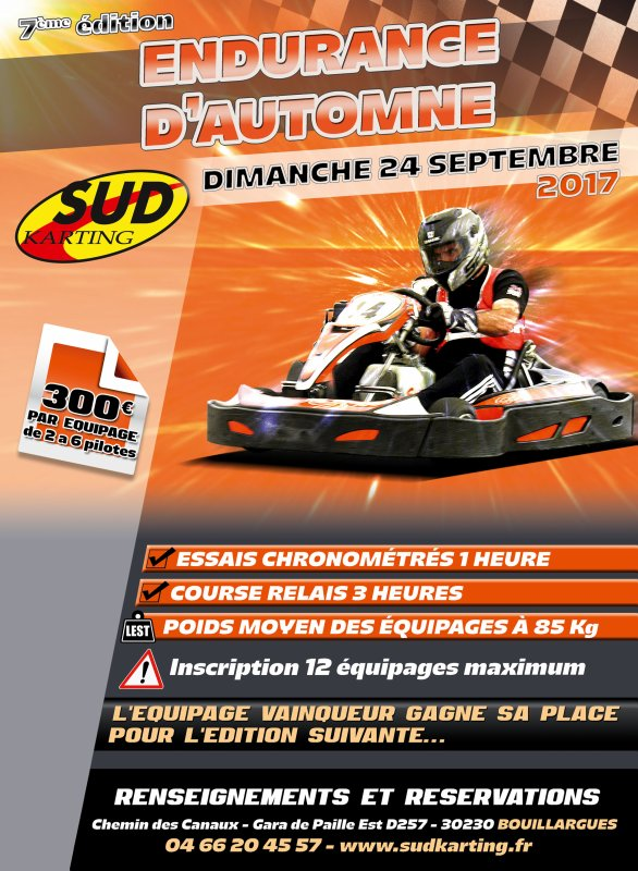 Affiches Sud Karting endurance automne
