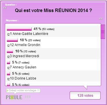 Miss RÉUNION 2014 ~ Résultats de l'élection du blog