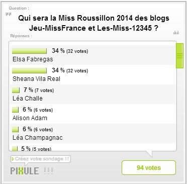 Miss Roussillon 2014 - Résultats de l'élection des blogs