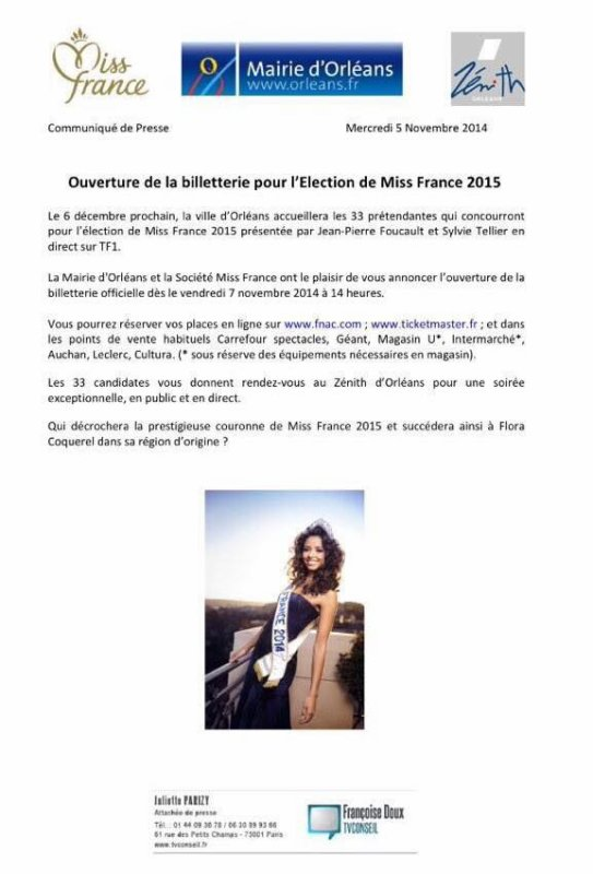 Billetterie Miss France 2015 :: Toutes les informations