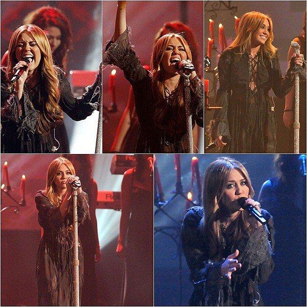 Always & Forever Always & Forever Le 21 Novembre 2010 : Miley Cyrus c'est rendu au American Music Awards ou celle-ci a interpreté une de ses chansons : Forgiveness And Love. Miley était nominé dans aucune des catégories.  J'en ai eu le souffle coupé,elle était MAGNIFIQUE, sa prestation SUBLIME. Sa été un gros coup de coeur pour moi.     Always & Forever