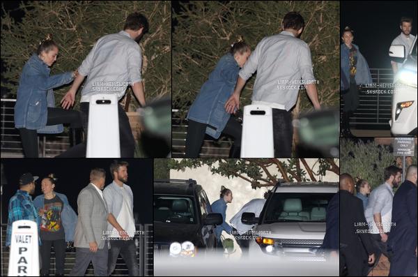 09.12.2017 : Liam Hemsworth  et sa chérie Miley Cyrus se sont rendus au Restaurant Nobu à  Malibu