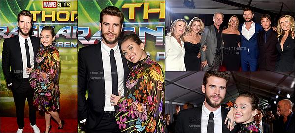 10.10.2017 : Liam  et sa chérie Miley était à la première de Thor Ragnarok ou le frère de Liam joue à  Hollywood