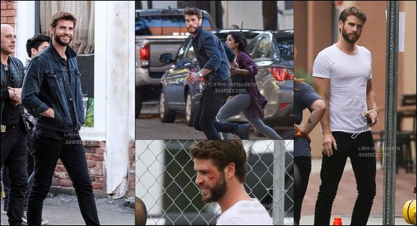 """Octobre 2017 : Liam  était en train de filmer une scène, pour le film """"Killerman"""" avec Diane Guerrero en Géorgie"""