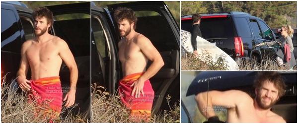 07.02.2018 : Liam Hemsworth et sa fiancée Miley Cyrus ont passé du temps ensemble sur une plage à Malibu
