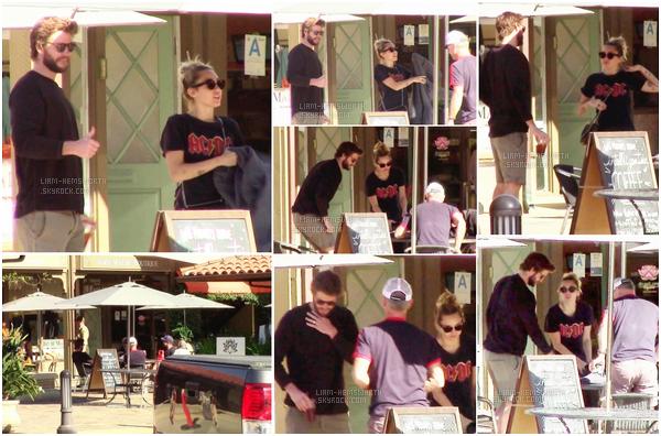 09.02.2018 : Liam Hemsworth , sa fiancée Miley Cyrus et des amis ont déjeunés ensembles à Malibu
