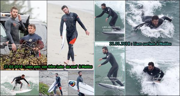 21 et 22.03.2018 : Liam a été faire du surf sous la pluie avec son frère Luke  puis y est retourné le lendemain