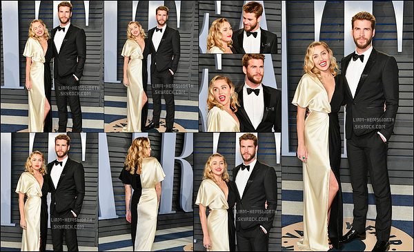04.03.2018 : Liam Hemsworth et sa fiancée Miley Cyrus étaient au « Vanity Fair Oscar Party » à Beverly Hills