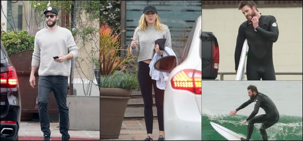 05 Avril 2018 : Liam Hemsworth était avec sa chérie Miley Cyrus à Malibu en Californie , Puis Liam a été surfer