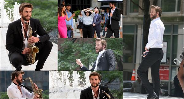 """14.07.2018 : Liam à été vu tournant une scène de son nouveau film """"Isn't It Romantic"""" à  New York"""