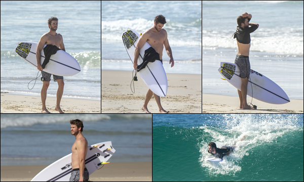 23.05.2019 :  Liam Hemsworth cette fois ci tout seul a été aperçu faisant du surf à Byron Bay en -  Australie    Une sortie surf ça faisait un moment que Liam n'en avait pas fait mais c'est le passe temps favori des Hemsworth !