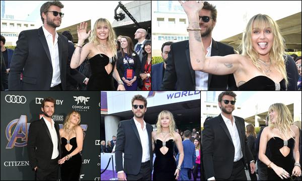 22.04.2019 :  Liam et son épouse Miley Cyrus étaient à la première de « Avengers End Game » à Los Angeles    Ils étaient vraiment magnifiques tous les deux, j'adore la robe et la coiffure de Miley c'est un véritable top pour moi !