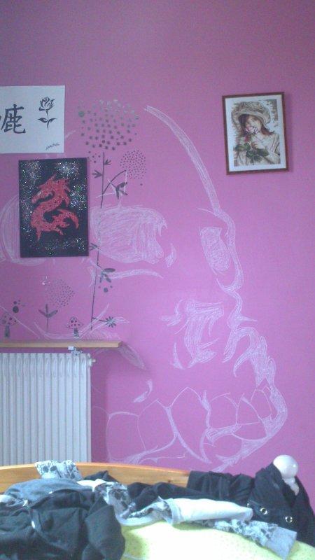 Dessin mural fait a la craie