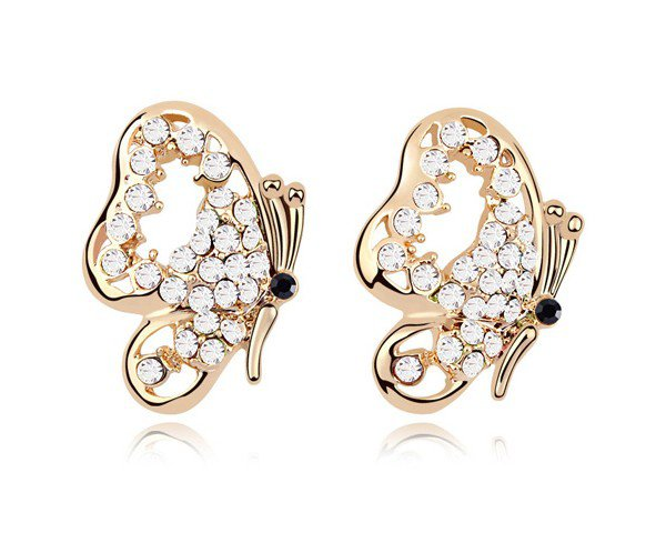 Boucles d'oreilles plaqué or blanc en forme de papillon serties de cristaux prix 15e