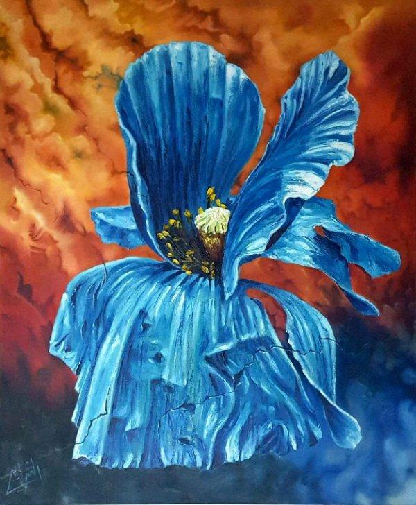 Coquelicot en bleu  -   juste une partie de l'oeuvre