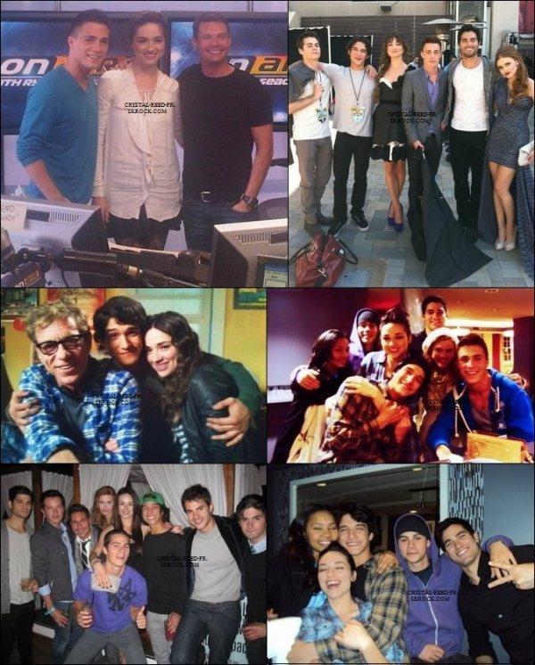 Crystal Reed   & tous le cast sur les photos TWITTER.   (Désolé pour la mauvaise qualité des photos )  Un énoorme coup de coeur pour la photo de  Crystal  avec les pops corn. & vous ? .