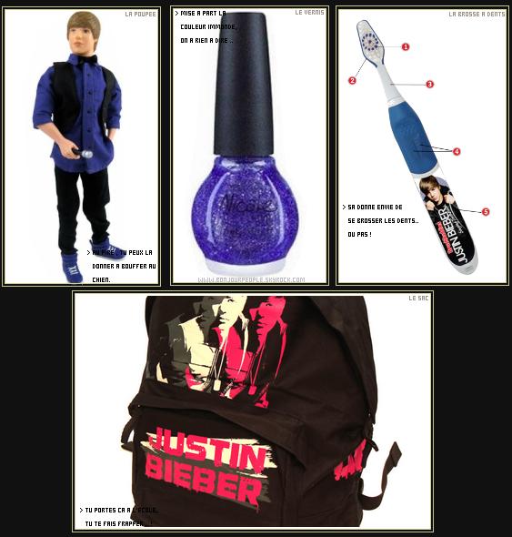 -  JUSTIN BIEBER IRAIT-IL UN PEU TROP LOIN DANS LES PRODUITS DÉRIVÉS ?!  Entre les brosse à dents qui chantent , les vernis et les poupées , ont en finis plus de la BieberFever ..  -