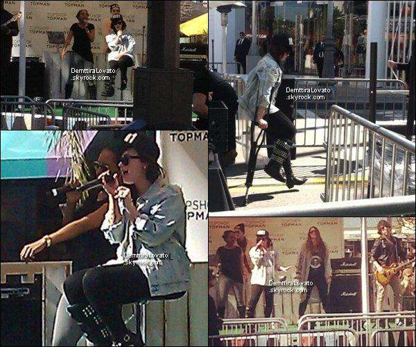 .                                   14 Février Demi à passer sa journée au The Groove pour l'ouverture de Topshop Topman                                      .