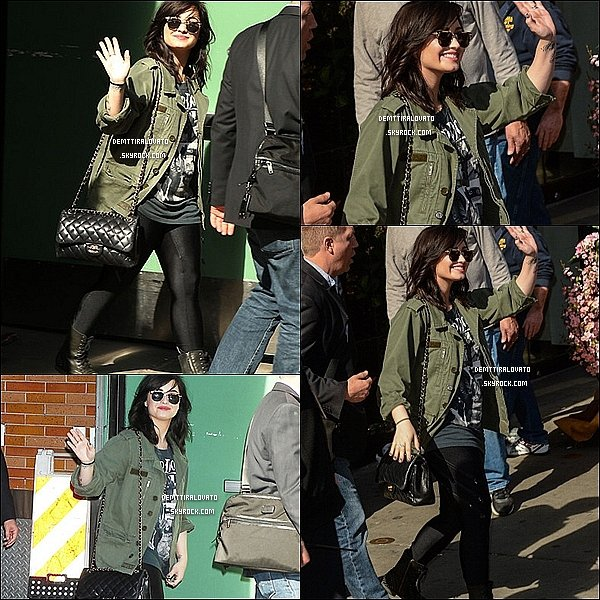 .     10 Avril Tôt dans la matinée Demi.L est arriver au studio de l'mission «Good Morning America» à Times Square Studios à New York.    Pandent sont passage dans l'émission elle à interprée «Heart Attack» et «Give Your A Break» pour la promo de son nouvel album.                                                       .