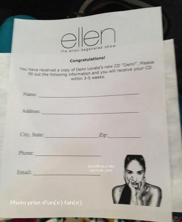 8 Mai Demi.Lovato à enregistré sa participation dans «The Ellen DeGeneres Show».     L'interview serra difusée 13 mai comme prévue. Dans cette interview, Demi parle bien sur de sont nouvel album mais aussi de «THE X-FACTOR»