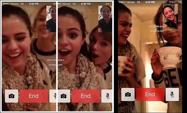 """Le samedi 28 décembre Demi, Selena Gomez et Taylor Swift ont fait une soirée filles via l'aplication """"FaceTime"""". Car Demi était à Dallas au Texas."""