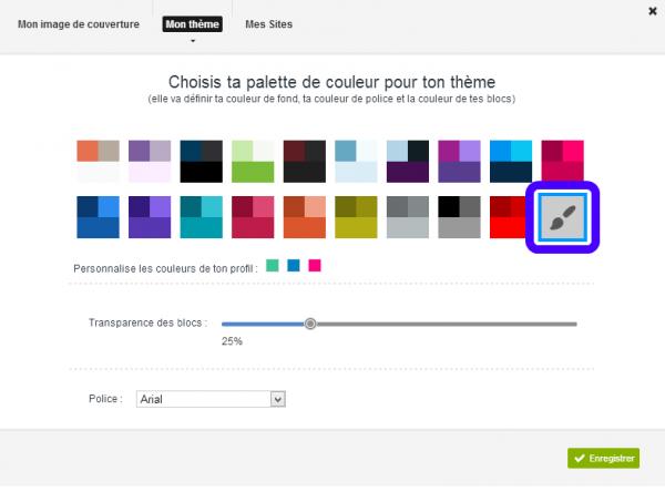 Mise à jour du 03/10/2013 : Choix personnalisé des couleurs du profil